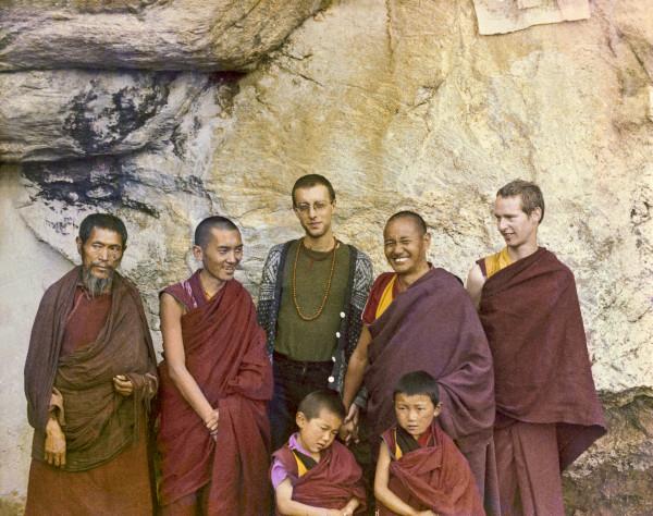 At the Lawudo Lama's cave, Nepal, 1972. From the left to right: unknown monk, Lama Zopa, Massimo Corona, Lama Yeshe, Jhampa Zangpo, with two new Mount Everest Centre novice monks. Photo courtesy of Lama Yeshe Wisdom Archive.