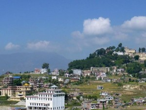 Khachoe Ghakyil Nunnery (foreground left) with Kopan Monastery in the background, Nepal, 2009. Photo courtesy of Kopan Monastery.