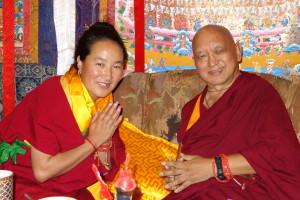 Khadro-la and Lama Zopa Rinpoche meeting at Kopan Monastery, April 2013. Photo by Ven. Roger Kunsang.