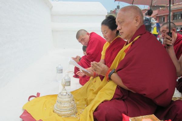 Lama Zopa Rinpoche and Khadro-la made special prayers for world peace at Boudhanath Stupa, April 2013. Photo by Ven. Sarah Thresher.
