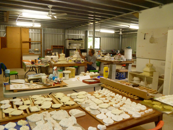 The lower level of Chenrezig Institute's art studio is used for tsa-tsa casting, among other crafts, 2013. Photo courtesy of Garrey Foulkes.