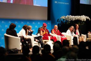 His Holiness the Dalai Lama with panel, Université de Lausanne, Switzerland, April 2013. Photo by Jon Schmidt.