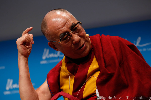 His Holiness the Dalai Lama at Université de Lausanne, Switzerland, April 2013. Photo by Jon Schmidt.