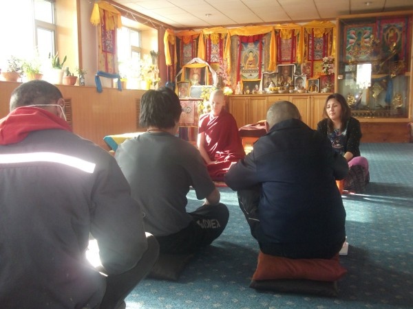 Ven. Thubten Gyalmo provides information on the nature of mind and mental habits to Mongolians with alcohol addiction, 2013. Photo courtesy of Ani Thubten Gyalmo.
