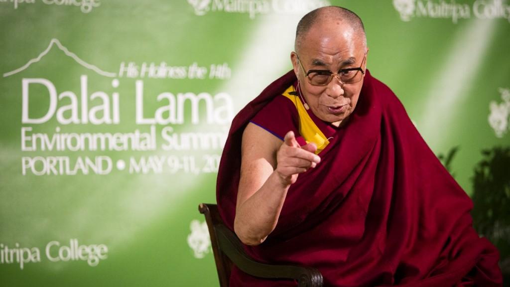 His Holiness the Dalai Lama at Maitripa College's Dalai Lama Environmental Summit, Portland, Oregon, U.S., May 2013. Photo by Leah Nash.