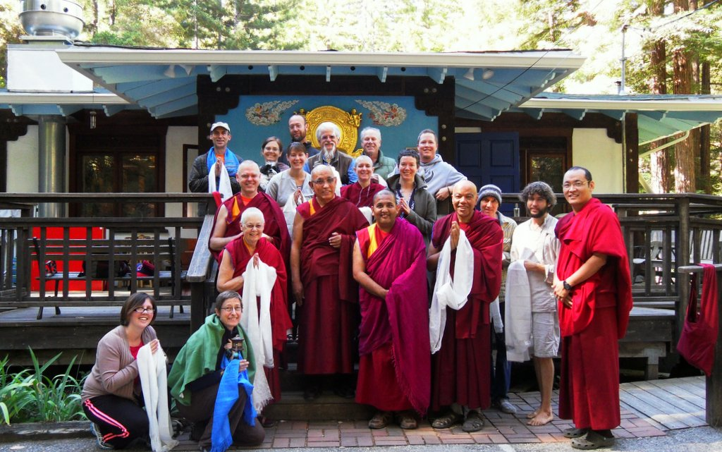 Jangste Chöje with Vajrapani staff and guest at end of retreat, June 2013. Photo courtesy of Vajrapani.