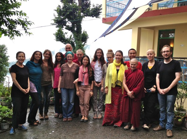 Drolkar McCallum (far left) with the students of Lotsawa Rinchen Zangpo Translator Programme 6, Dharamsala, India, June 2013. Photo courtesy of Drolkar McCallum.
