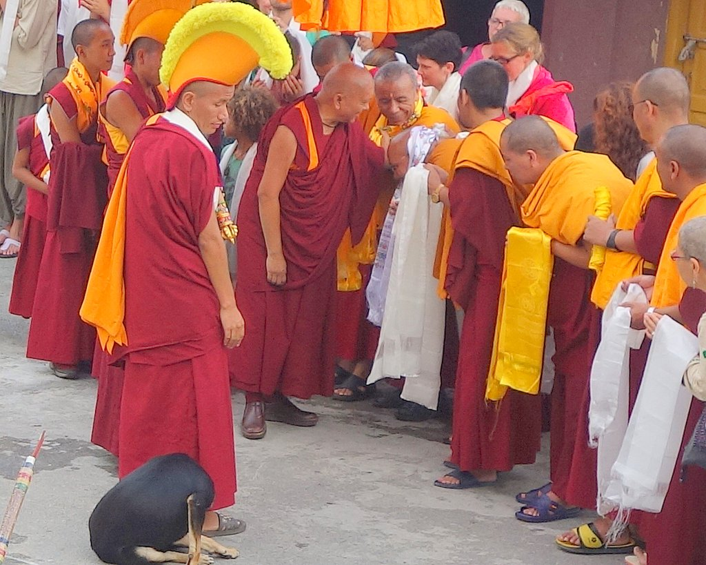 Lama Zopa Rinpoche upon his arrival at Kopan Monastery, Nepal, August 8, 2013. Photo by Ven. Roger Kunsang.