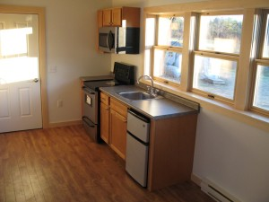 Kitchen in tiny house, Milarepa Center. Photo courtesy of Ven. Amy Miller.
