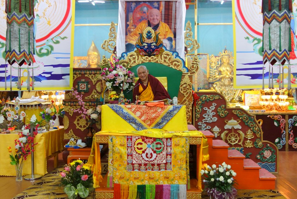 Lama Zopa Rinpoche at 100 Million Mani Retreat, Mongolia, August 15, 2013. Photo by Ven. Roger Kunsang.