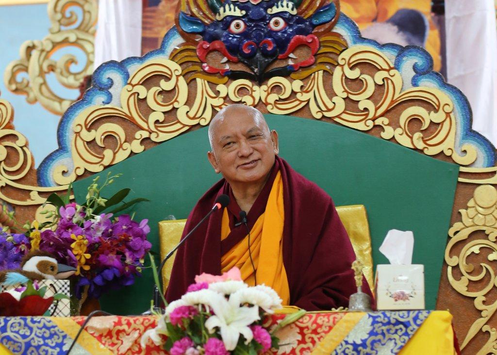 Lama Zopa Rinpoche at 100 Million Mani Retreat, Mongolia, August 2013. Photo by Ven. Roger Kunsang.