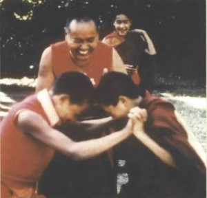 Lama Yeshe with boys from the Mount Everest Center