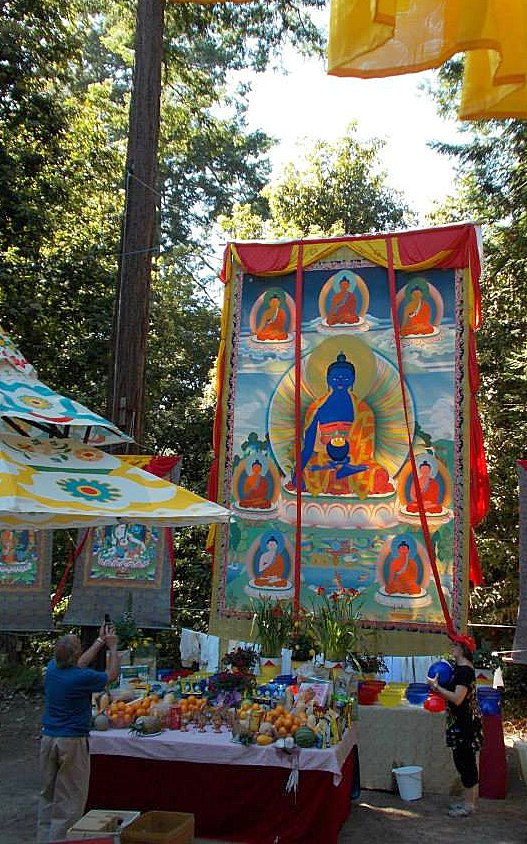 Large Medicine Buddha thangka painted by Peter Iseli at LMB's Medicine Buddha Festival, June 2013. Photo courtesy LMB's Facebook page.