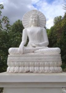 Chandrakirti Centre's fiberglass Buddha awaiting painting. Photo courtesy of Chandrakirti Centre.