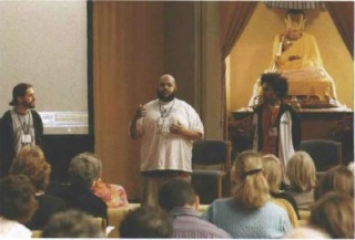 Andres Gonzalez, Ali Shah Rasool Smith and Atman Ananda Smith, co-founders of the Holistic Life Foundation, at the Garrison Institute's Education Symposium. HLF works with severely at-risk youth in East Baltimore, offering yoga and meditation in after school programs, and is involved in a study of the effects of the meditation on children's cognitive, attentional, coping, academic, and behavioral skills.