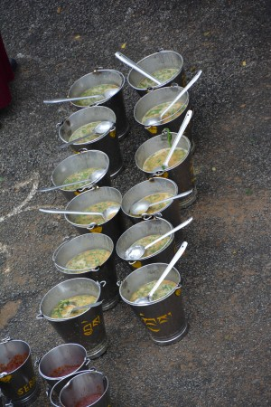 Buckets of soup. Photo courtesy of Sera Je Food Fund.