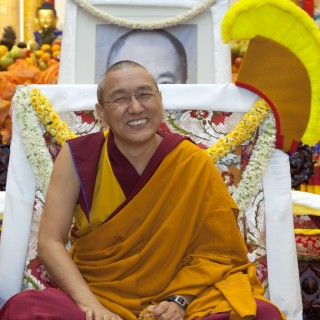 Khen Rinpoche Geshe Chonyi during long life puja, ABC, July 2013