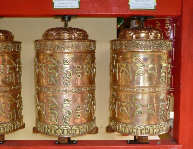 New prayer wheels from Nepal installed at the Garden of Enlightenment, Chenrezig Institute, Queensland, Australia, 2013. Photo by Ray Furminger.