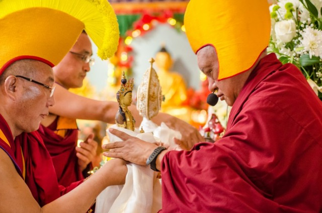 Dagri Rinpoche making offering to Lama Zopa Rinpoche during long life puja, Land of Medicine Buddha, California, September 29, 2013. Photo by Chris Majors.