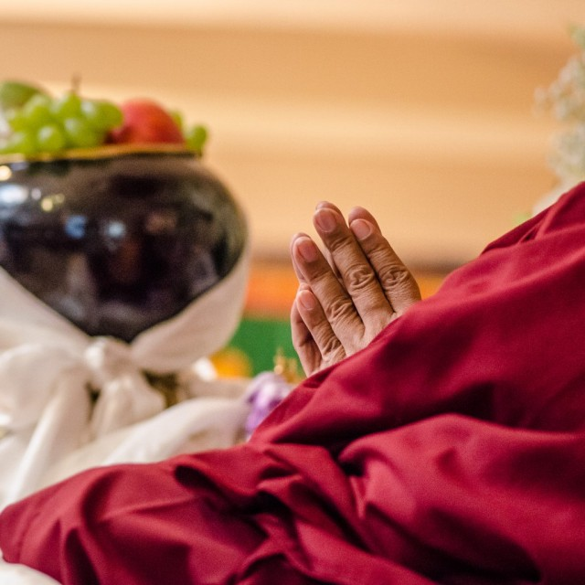 Lama Zopa Rinpoche at long life puja, Land of Medicine Buddha, California, September 29, 2013. Photo by Chris Majors.