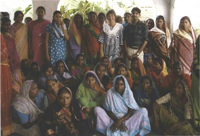 Marijke with local midwives after a workshop.