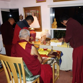 Vens. Tsering, Sangpo and Sherab with Rinpoche, Kachoe Dechen Ling, October 21, 2013. Photo by Ven. Roger Kunsang.