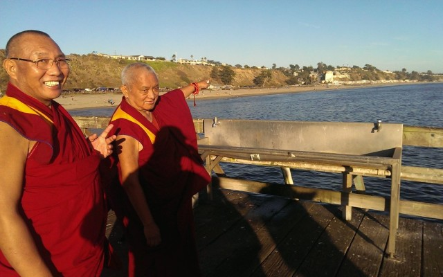 """Rinpoche pointing out to Dagri Rinpoche where Lama Yeshe lived. Rinpoche 's house is """"by chance"""" only a few miles away ! It wasn't planned, it just happened like that! Aptos, CA, September 28, 2013. Photo by Ven. Roger Kunsang"""
