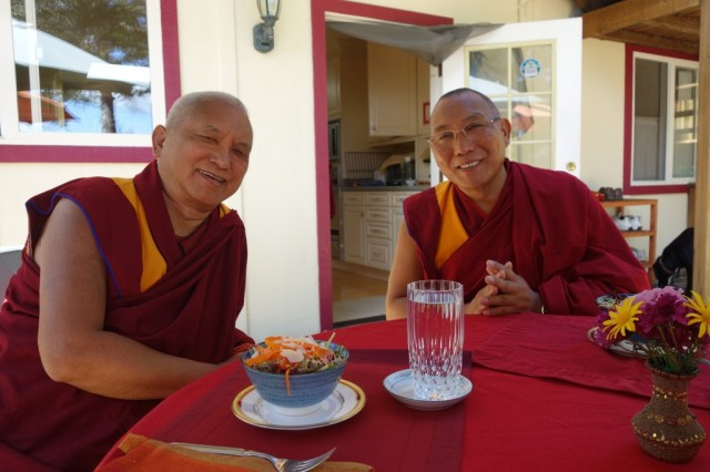 Lama Zopa Rinpoche and Dagri Rinpoche at lunch, Kachoe Dechen Ling, Aptos, California, US, September 24, 2013. Photos by Ven. Roger Kunsang.