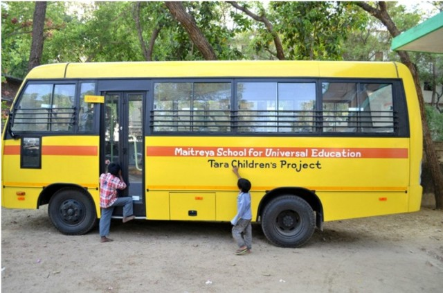 Tara Children's Project's new bus, Bodhgaya, India