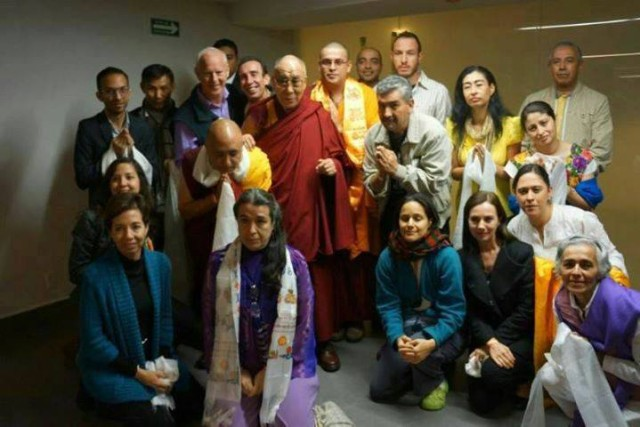 His Holiness the Dalai Lama with FPMT Mexico students, October 2013. Photo via FPMT Mexico's Facebook page.