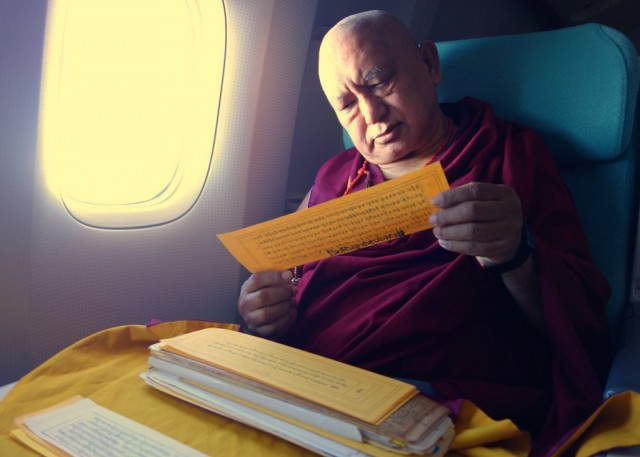 Rinpoche reads texts and meditates while flying, November 22, 2012. Photo Ven.Roger Kunsang.