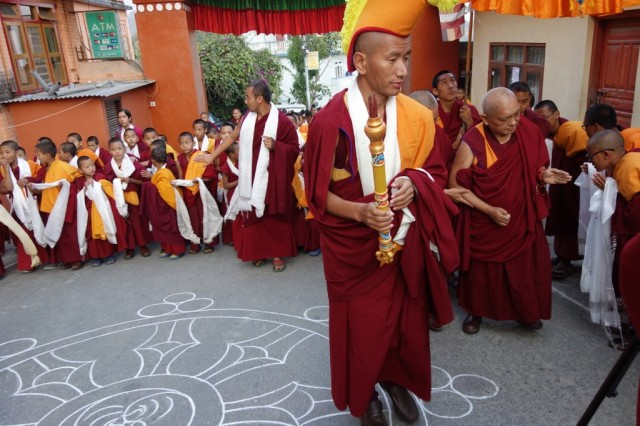 The young monks are the first to greet Rinpoche upon his return to Kopan Monastery, Nepal, November 22, 2013. Photo by Ven. Roger Kunsang.