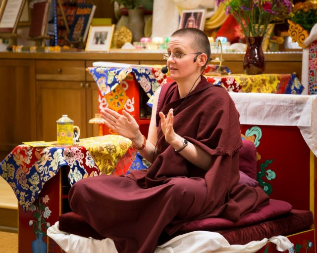 Geshe Kelsang Wangmo at Kadampa Center, Raleigh, North Carolina, US, October 26, 2013. Photo by David Strevel.