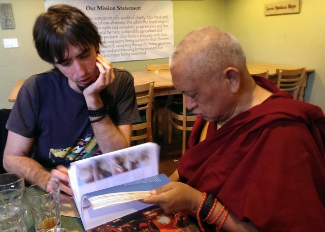 Lama Zopa Rinpoche and Tenzin Osel Hita, Santa Cruz, California, November 3, 2013. Photo by Ven. Roger Kunsang.