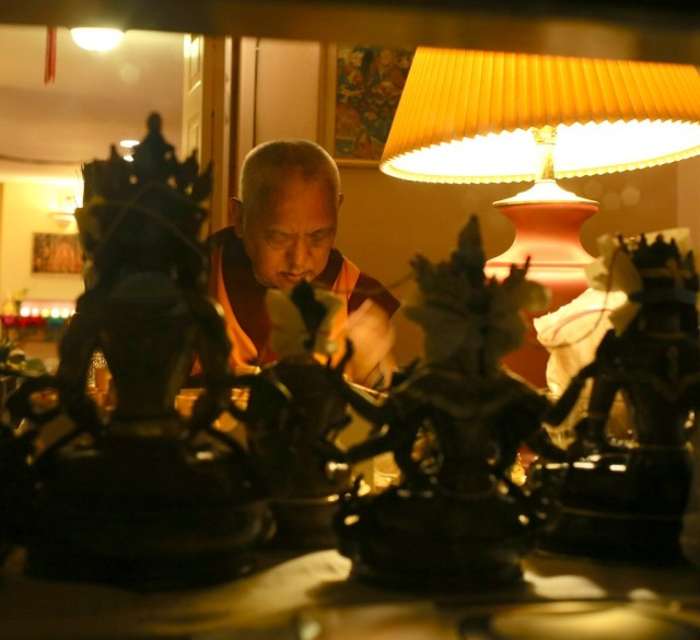 Lama Zopa Rinpoche with recently consecrated statues, Kachoe Dechen Ling, California, October 23, 2013. Photo by Ven. Thubten Kunsang.