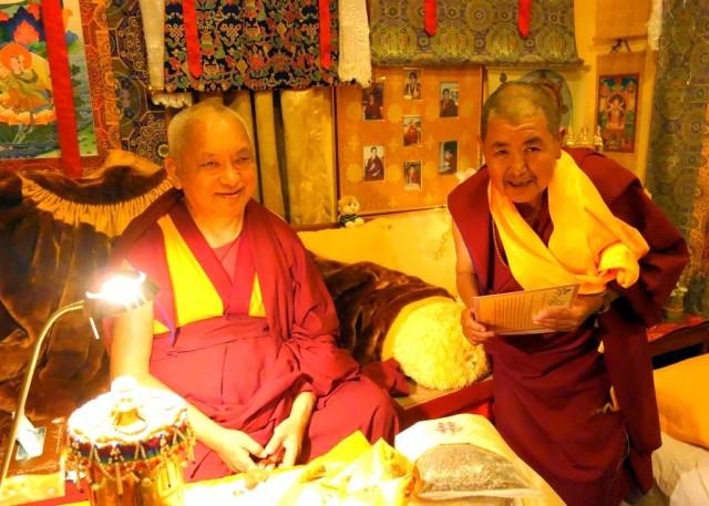 Lama Zopa Rinpoche and his sister Ani Ngawang Samten, Kopan Monastery, Nepal, November 2013. Photo by Ven. Roger Kunsang.