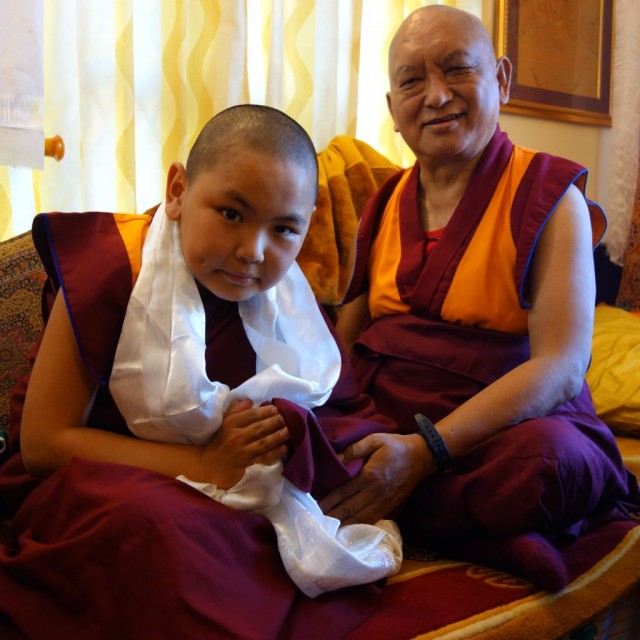 Tenzin Phuntsok Rinpoche and Lama Zopa Rinpoche at Sera Monastery, India, December 2013. Photo by Ven. Roger Kunsang.