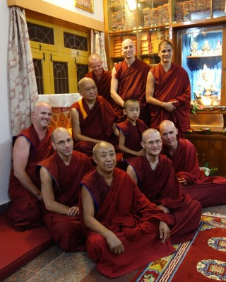 Lama Zopa Rinpoche with International Mahayana Institute (IMI) monks at Sera, India, December 2013. Photo by Ven. Roger Kunsang.