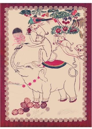 The Four Harmonious Friends drawn by Lama Zopa Rinpoche