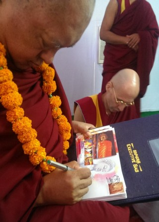 Lama Zopa Rinpoche and Ven. Kabir Saxena at Maitreya Project foundation stone laying ceremony, Kushinagar, India, December 13, 2013. Photo by Ven. Roger Kunsang.