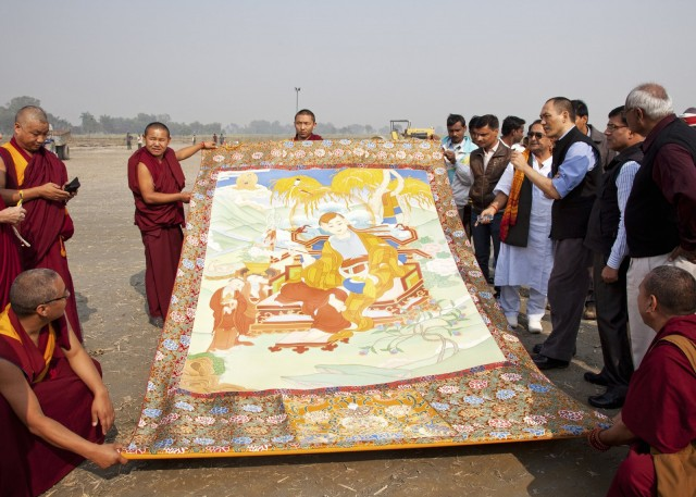 Thangka brought from Kopan Monastery for ceremony, Kushinagar, December 12, 2013. Photo by Andy Melnic.