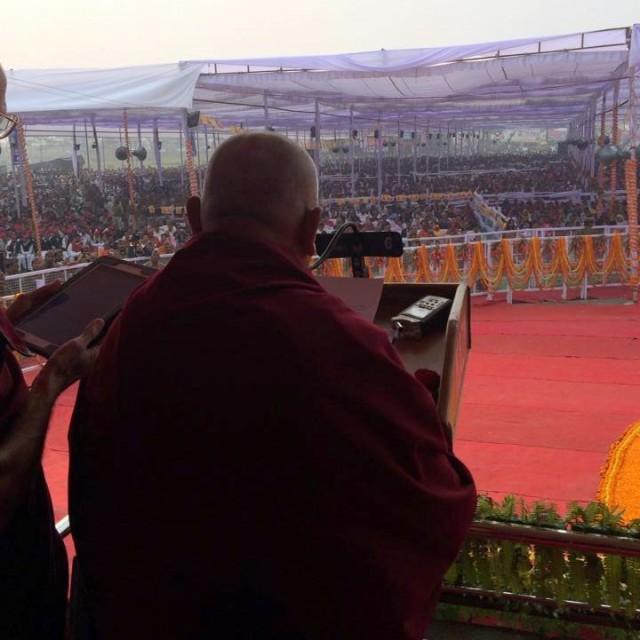 Lama Zopa Rinpoche at Maitreya Project ceremony, Kushinagar, India, December 13, 2013. Photo by Ven. Sangpo Sherpa.