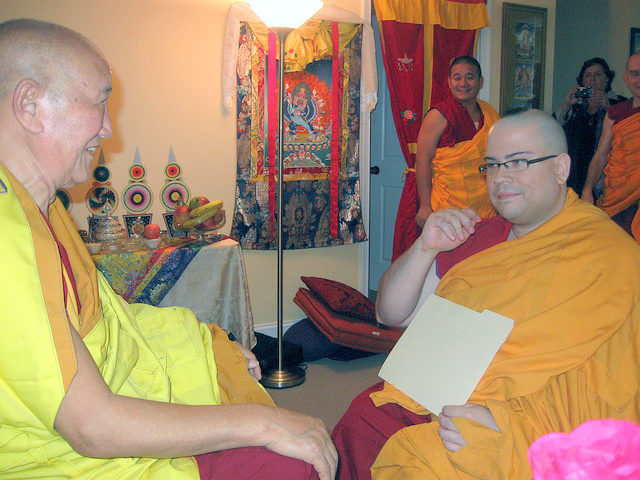 Ven. Losang Dondrub is ordained by Gyumed Khensur Rinpoche Lobsang Jampa ordained, Guhyasamaja Center, October 2013.