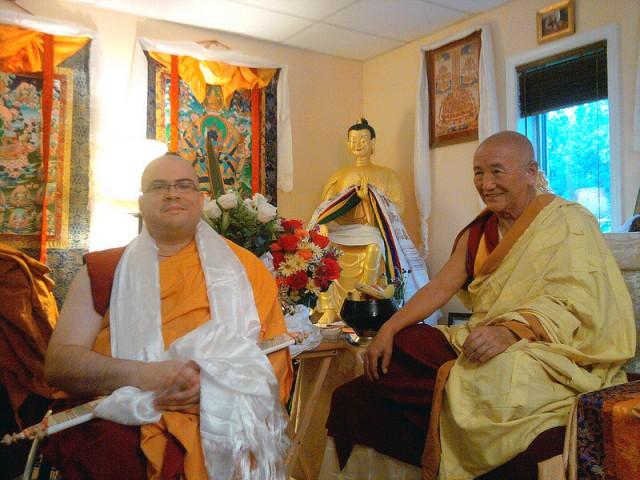 Gyumed Khensur Rinpoche Lobsang Jampa ordained Guhyasamaja Center student Matt Gausman, now Ven. Losang Dondrub, October 2013. Photo courtesy of Guhyasamaja Center.