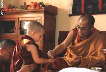 Osel meets His Holiness the Dalai Lama, Delhi, India. 1986