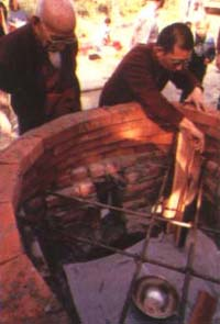Building the cremation stupa.