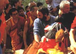 Preparing Lama's body for cremation.