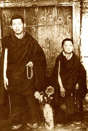 Ten year old Zopa Rinpoche in Pagri, Tibet in 1959 with Gyuto monk Ven Kelsang Tsering