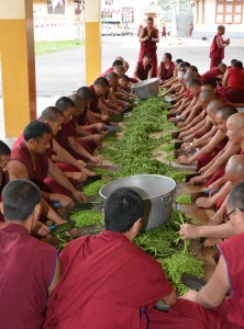 Monks helping prepare one of the daily meals offered through the Sera Je Food Fund.
