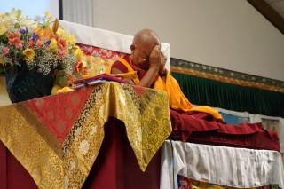 Rinpochedoingprayersforthosewhohavediedandwhoareseriouslysickattheendoftheday'steaching at theLlight of the Path retreat. Photo:Ven.RogerKunsang, May2014